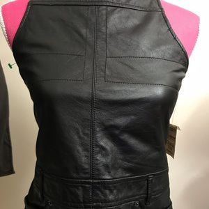 Wilson's 100% Leather Top with Red Lace-up Back